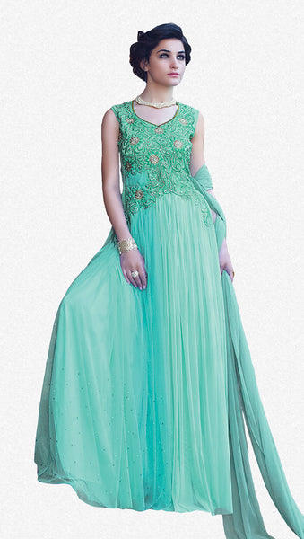 Designer Gowns!:atisundar marvelous Net Designer Partywear Gowns in Sea Green - 7105 - click to zoom