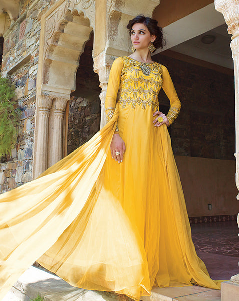 Designer Gowns!:atisundar excellent Net Designer Partywear Gowns in Yellow - 7108 - atisundar - 4 - click to zoom
