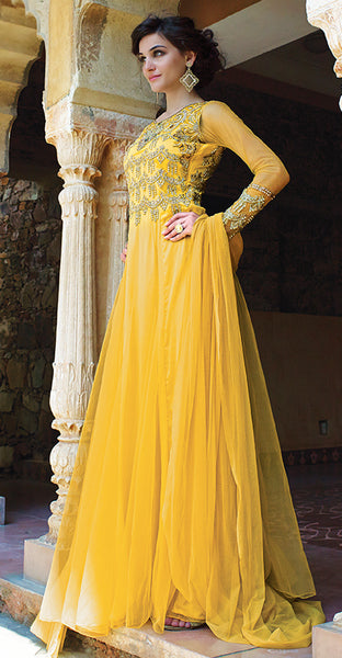 Designer Gowns!:atisundar excellent Net Designer Partywear Gowns in Yellow - 7108 - atisundar - 5 - click to zoom