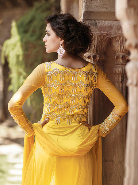 Designer Gowns!:atisundar excellent Net Designer Partywear Gowns in Yellow - 7108 - atisundar - 6 - click to zoom