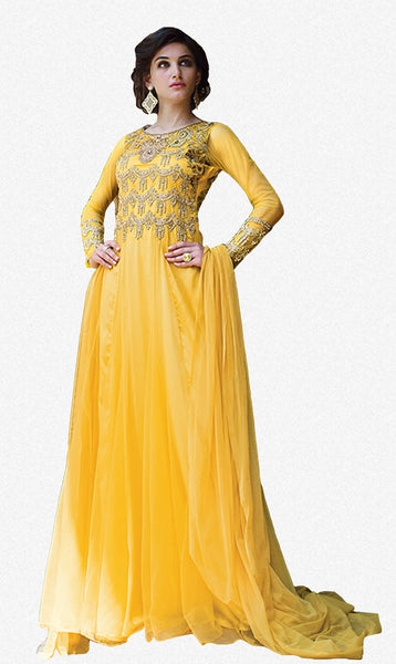 Designer Gowns!:atisundar excellent Net Designer Partywear Gowns in Yellow - 7108 - atisundar - 2 - click to zoom