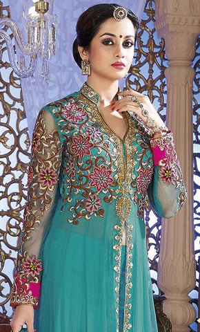 Designer Embroidered Suits:atisundar lovely Sea Green Anarkali - 7852 - atisundar - 3