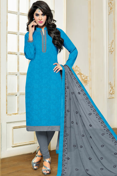 Designer Straight Cut:atisundar magnificent Sky Blue Designer Party Wear Straight Cut in Satin Cotton - 11826 - atisundar - 3 - click to zoom