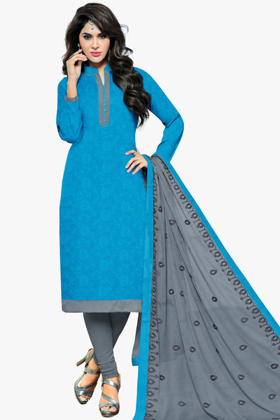 Designer Straight Cut:atisundar magnificent Sky Blue Designer Party Wear Straight Cut in Satin Cotton - 11826 - atisundar - 1 - click to zoom