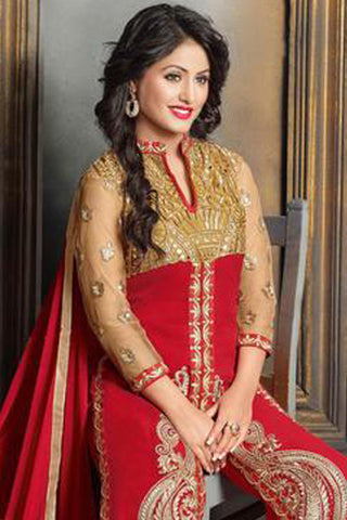 The Heena Khan Collection:atisundar elegant Red Designer Straight Cut  - 7300