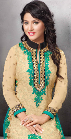 The Heena Khan Collection:atisundar classy Cream Designer Straight Cut  - 7301 - atisundar - 4