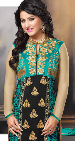 The Heena Khan Collection:atisundar charming Black And Sea Green Designer Straight Cut  - 7304 - atisundar - 4