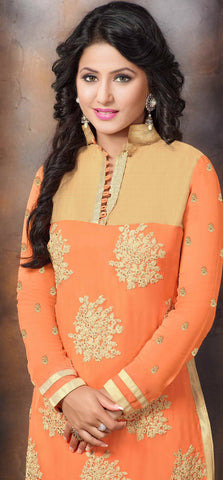 The Heena Khan Collection:atisundar excellent Orange Designer Straight Cut  - 7305 - atisundar - 3