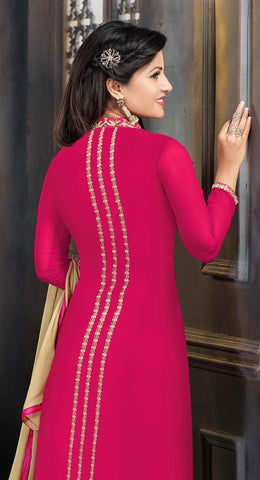The Heena Khan Collection:atisundar graceful Pink Designer Straight Cut  - 7306 - atisundar - 4