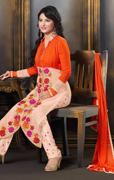 The Heena Khan Collection:atisundar comely Orange And Pink Designer Straight Cut  - 7307 - atisundar - 3 - click to zoom