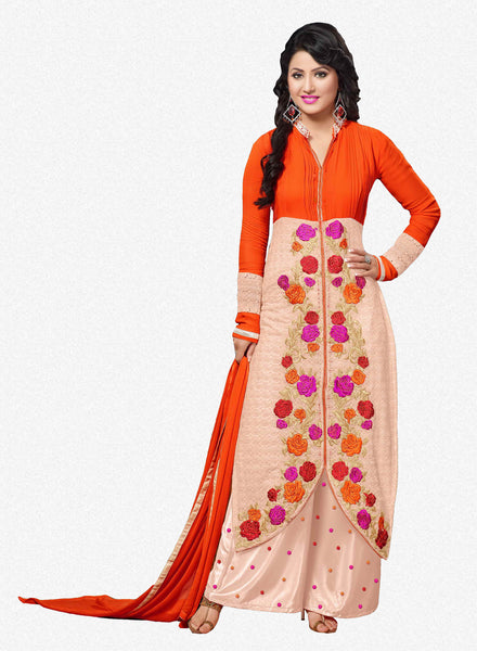The Heena Khan Collection:atisundar comely Orange And Pink Designer Straight Cut  - 7307 - atisundar - 1 - click to zoom
