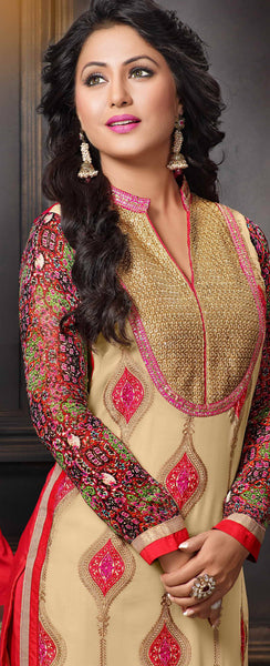 The Heena Khan Collection:atisundar delicate Beige Designer Straight Cut  - 7311 - atisundar - 4 - click to zoom