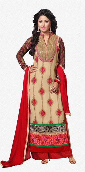 The Heena Khan Collection:atisundar delicate Beige Designer Straight Cut  - 7311 - atisundar - 1 - click to zoom