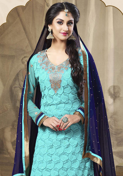 Festive Favorite:atisundar excellent Faux Georgette Designer Embroidered Lehenga in Sky - 5506 - atisundar - 5 - click to zoom