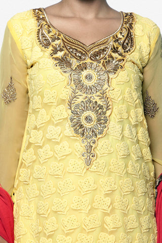 Festive Favorite:atisundar Superb Faux Georgette Designer Embroidered Lehenga in Yellow - 5508