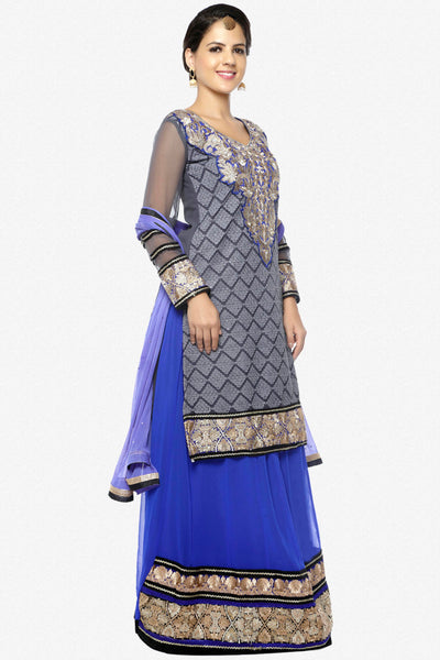 Festive Favorite:atisundar Smart Faux Georgette Designer Embroidered Lehenga in Gray - 5511 - click to zoom