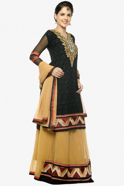 Festive Favorite:atisundar splendid Faux Georgette Designer Embroidered Lehenga in Black - 5513 - click to zoom