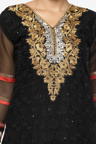Festive Favorite:atisundar splendid Faux Georgette Designer Embroidered Lehenga in Black - 5513