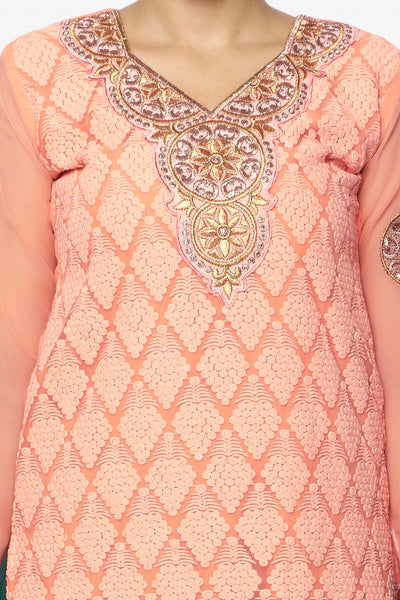 Festive Favorite:atisundar exquisite Faux Georgette Designer Embroidered Lehenga in Peach - 5515 - click to zoom