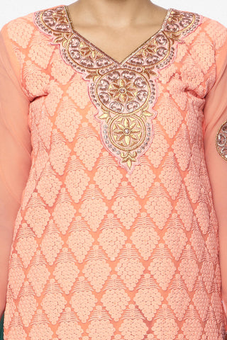 Festive Favorite:atisundar exquisite Faux Georgette Designer Embroidered Lehenga in Peach - 5515