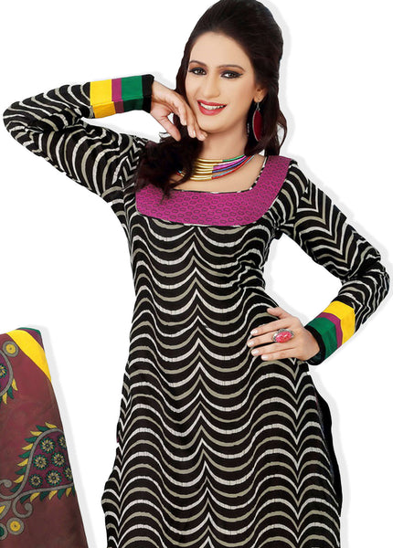 Designer Printed Cotton Unstitched Suit:atisundar graceful   in Black And Pink - 5516 - atisundar - 3 - click to zoom