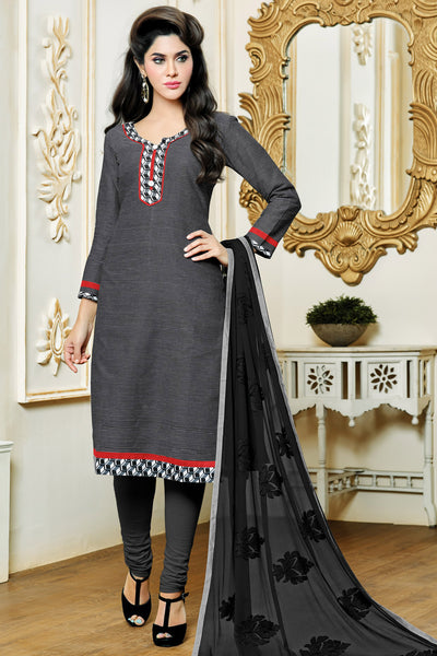 Designer Straight Cut:atisundar delightful Grey Designer Party Wear Straight Cut in Satin Cotton - 11827 - atisundar - 3 - click to zoom