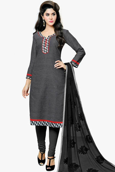 Designer Straight Cut:atisundar delightful Grey Designer Party Wear Straight Cut in Satin Cotton - 11827 - atisundar - 1 - click to zoom