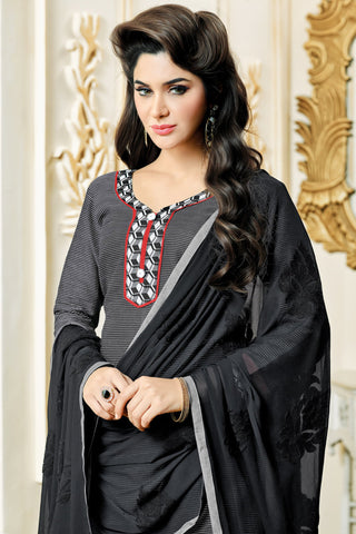 Designer Straight Cut:atisundar delightful Grey Designer Party Wear Straight Cut in Satin Cotton - 11827 - atisundar - 4