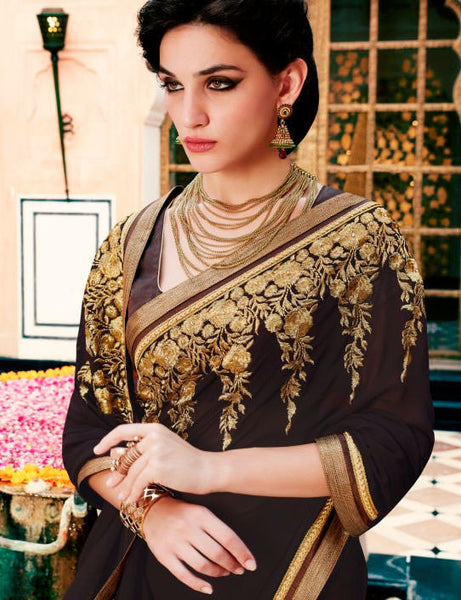 Designer Embroidered Saree:atisundar marvelous Designer Embroidery Saree in Brown  - 8590 - atisundar - 3 - click to zoom