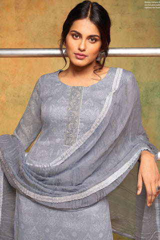 Printed Cotton Suit With Embroidery and dupatta:atisundar refined Grey Designer Semi Stitched Straight Cut Salwar Kameez - 15858