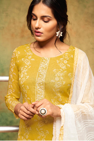 Printed Cotton Suit With Embroidery and dupatta:atisundar Beautiful Yellow Designer Semi Stitched Straight Cut Salwar Kameez - 15862