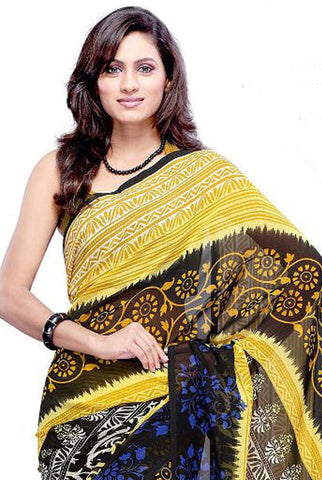 Designer Printed Sarees:atisundar   Lovely Designer Printed Saree in Yellow  - 5642 - atisundar - 4