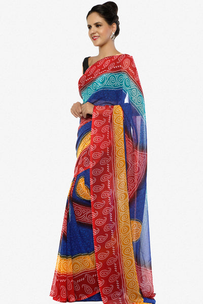 Designer Printed Sarees:atisundar   comely Designer Printed Saree in Red  - 5644 - click to zoom