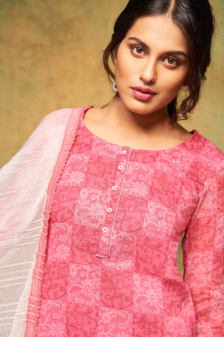 Printed Cotton Suit With Embroidery and dupatta:atisundar marvelous Pink Designer Semi Stitched Straight Cut Salwar Kameez - 15865