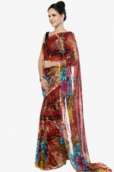 Designer Printed Sarees:atisundar   bewitching Designer Printed Saree in Red  - 5645 - click to zoom