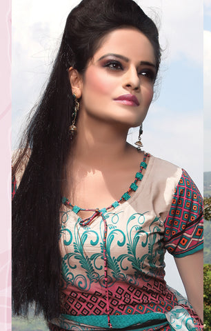Designer Printed Unstitched Suits:atisundar Alluring   in Off White And Pink - 5648 - atisundar - 3