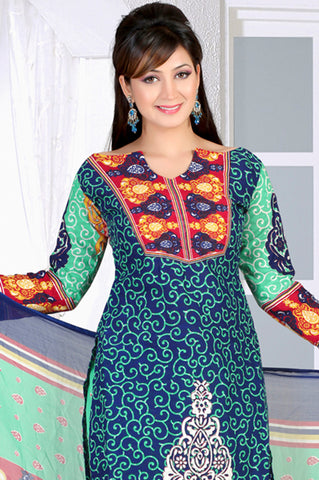 Designer Printed Unstitched Suits:atisundar magnificent   in Blue - 5660 - atisundar - 4