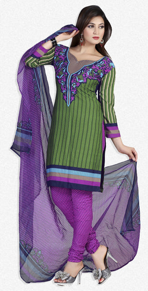 Designer Printed Unstitched Suits:atisundar Smart   in Green And Purple - 5665 - atisundar - 1 - click to zoom