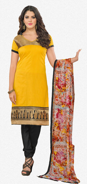 Chanderi Cotton Suits:atisundar classy   in Yellow - 5684 - click to zoom