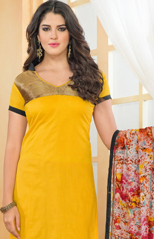Chanderi Cotton Suits:atisundar classy   in Yellow - 5684 - atisundar - 4