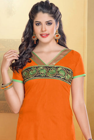 Chanderi Cotton Suits:atisundar admirable   in Orange - 5687 - atisundar - 4