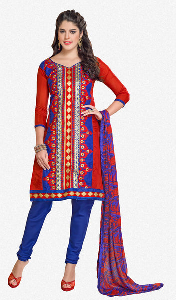 Chanderi Cotton Suits:atisundar gorgeous   in Red - 5688 - click to zoom