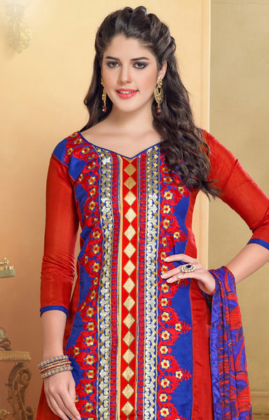 Chanderi Cotton Suits:atisundar gorgeous   in Red - 5688 - atisundar - 4 - click to zoom