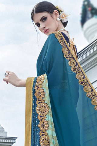 Designer Saree:atisundar beauteous Faux Georgette with Rachel Net Embroidered Saree with Banglori Blouse in Blue  - 13074