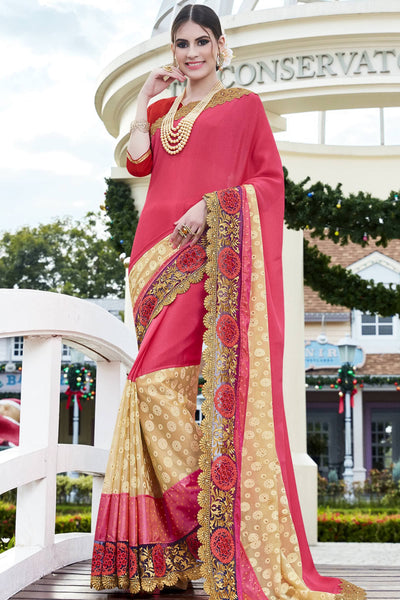 Designer Saree:atisundar Beautiful Faux Georgette with Rachel Net Embroidered Saree with Banglori Blouse in Pink  - 13075 - click to zoom