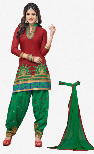 Embroidered Designer Patiala Suits In Cotton:atisundar marvelous   in Maroon - 5702 - atisundar - 2 - click to zoom