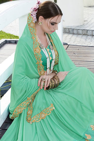 Designer Saree:atisundar radiant Faux Georgette with Rachel Net Embroidered Saree with Banglori Blouse in Green  - 13076