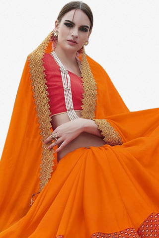 Designer Saree:atisundar Alluring Faux Georgette with Rachel Net Embroidered Saree with Banglori Blouse in Orange And Red  - 13079