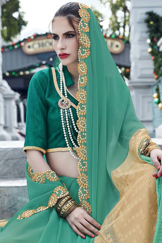 Designer Saree:atisundar graceful Faux Georgette with Rachel Net Embroidered Saree with Banglori Blouse in Green  - 13080