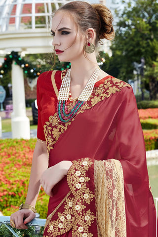 Designer Saree:atisundar divine Faux Georgette with Rachel Net Embroidered Saree with Banglori Blouse in Red  - 13081